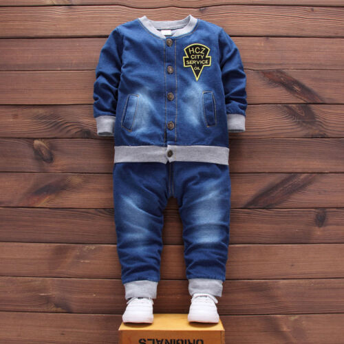 Kids Baby boys casual Outfits denim Tops  Long Pants party Clothes Set fashion