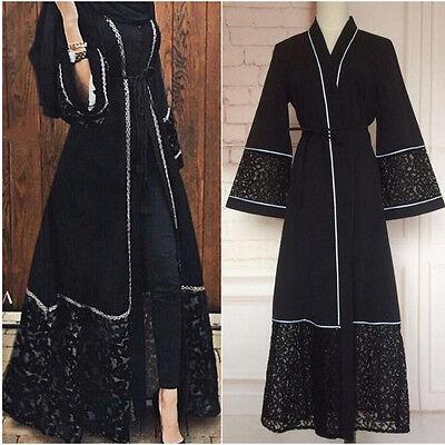 Dubia Style Open Front Abaya Jilbab Muslim Islamic Maxi Dress Arab Robe Casual