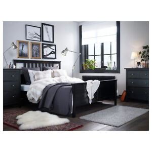 HEMNES Queen Bed frame, black-brown, in excellent,condition!