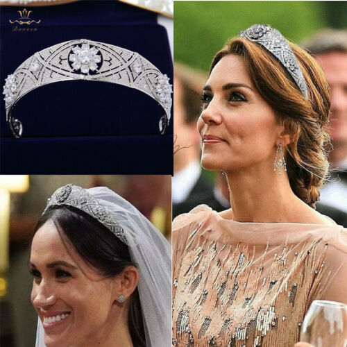 Meghan Markle Tiara Princess Zircon Crown Headpieces For Wedding Hair Accessory