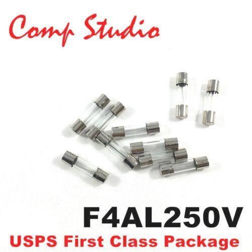 10X 4 Amp F4AL250V 4A 250V Fast Blow Fuse Glass 5x20mm Acting Quick Blow fuse
