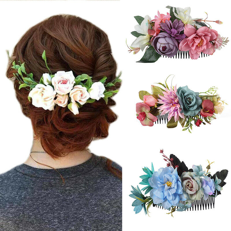 Women's Bridal Flower Hair Comb Pins Clips Slide Hair Access