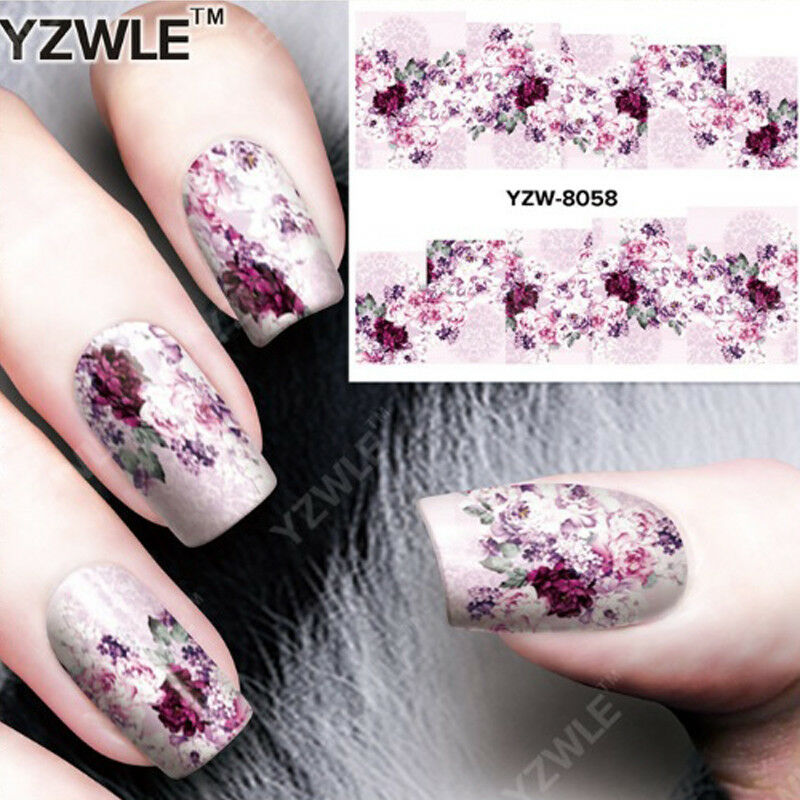 Nail Art Nagel Sticker * Wasser Transfer Tattoo * Ornamente Blumen YZW8058