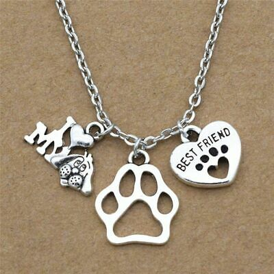 New I Love My Dog Lover Gifts Cute Best Friend Heart Dog's Paw Pendants
