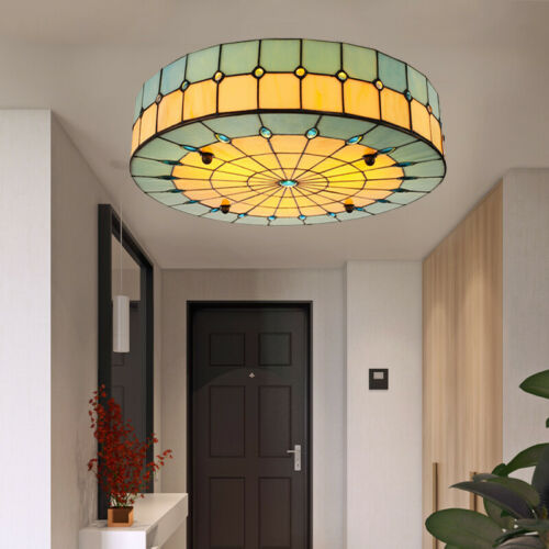 Tiffany Green Stained Glass Ceiling Lamp Shell Flush Mount L