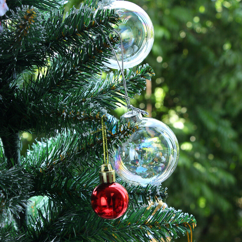Diy clear iridescent glass baubles ball christmas tree for Outdoor christmas baubles