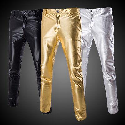 Men Faux Leather Biker Pants Wet Look Stage Trousers Metallic Shiny Slim Fashion (Faux Leather Pants For Men)