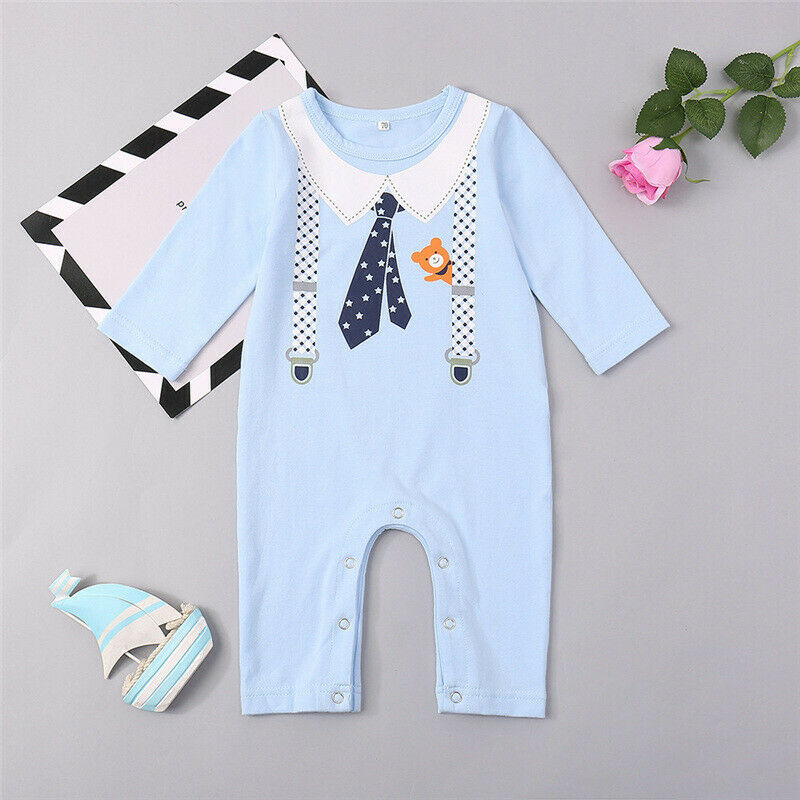 Baby Toddler Kids Long Sleeve Jumpsuit Romper Boys Girls Summer Outfits Clothes Baby