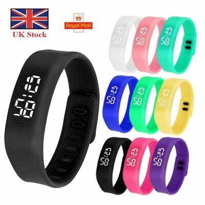 Silicone Digital LED Waterproof Sport Wrist Watch Boys Girls Kids Children Gifts