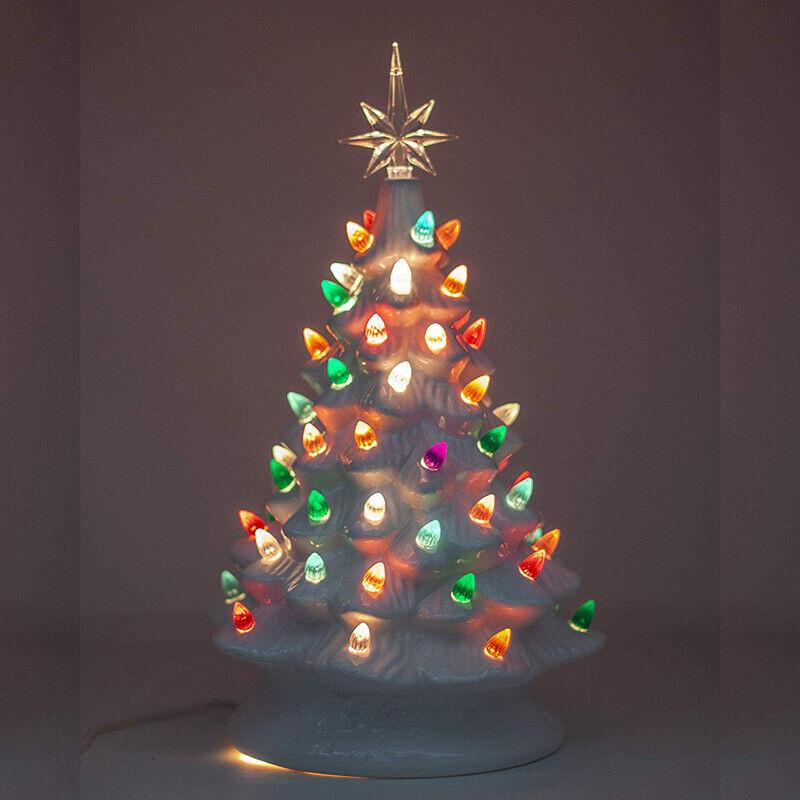 38cm Vintage Retro Light Up Ceramic Super Christmas Tree Ornaments Home Decor