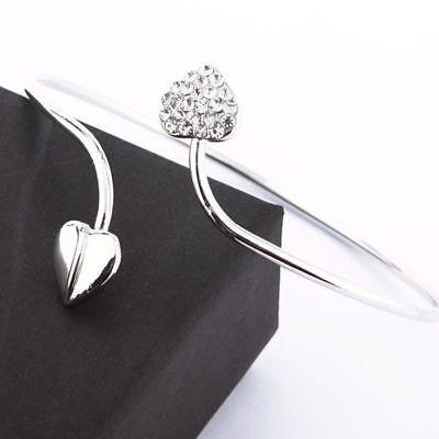 Exquisite Crystal Double Heart Open Bracelet Cuff Bangle for Women Girls Silver Double Heart Bangle Bracelet