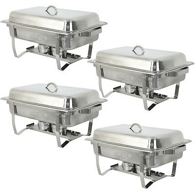 4 PACK CATERING STAINLESS STEEL CHAFER CHAFING DISH SETS 8 QT PARTY PACK Business & Industrial