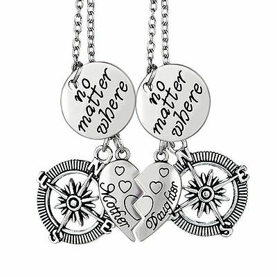 2pcs Mother and Daughter Necklace Set NO MATTER WHERE Mom Best Friend Compass