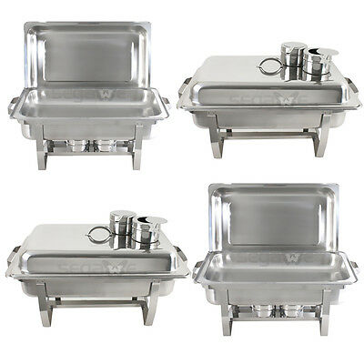 4 Pack Premier Chafers Stainless Steel Chafing Dish 8 Qt. Full Size Buffet - Chafing Trays