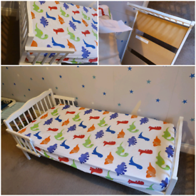 White toddler bed - with mattress baby cot bed