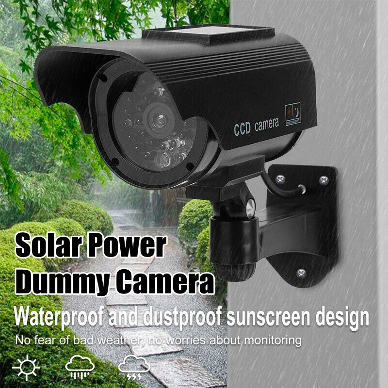 Solar Power Dummy Camera Home Security CCTV Surveillance Fake LED Light Outdoor