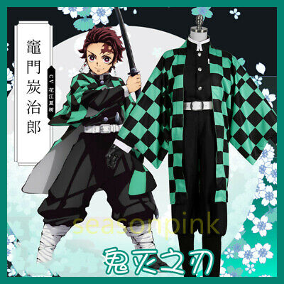 Anime Demon Slayer: Kimetsu no Yaiba Kamado Tanjirou Cosplay Kimono Set Costume - Demon Slayer Costume