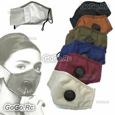 Reusable Washable Cloth Air Ventilation Port Face Mask With 2 Pcs PM2.5 Filter