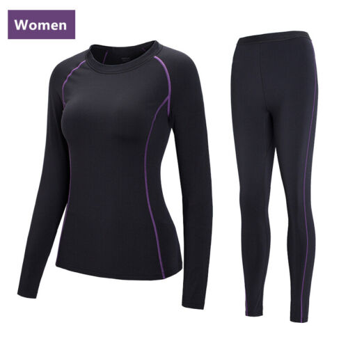 Women Thermal Underwear Sets Winter Long Johns Sweat Fleece Quick Drying Thermo Clothing, Shoes & Accessories