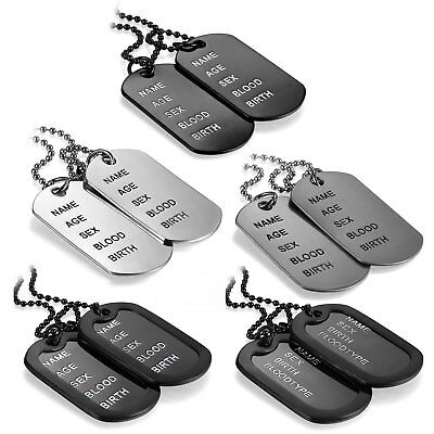 Men's Simple Army Military Black Alloy ID 2 Dog Tags Pendant Necklace Chain Gift](Military Dog Tags For Men)