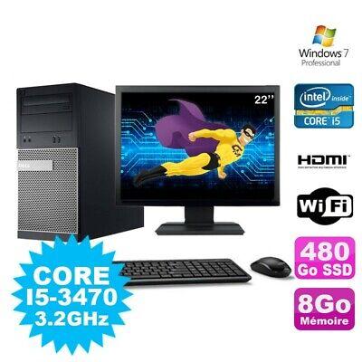 Lot PC Tour DELL 3010 MT I5-3470 Graveur 8Go 480Go SSD HDMI Wifi W7 + Ecran 22