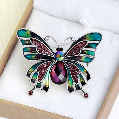 Elegant Bridal Crystal Rhinestone Butterfly Pin Brooch Christmas Fashion Jewelry