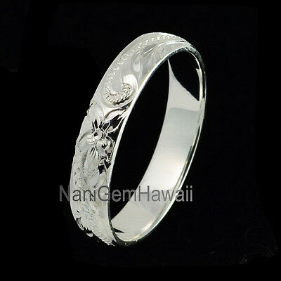 (Hawaiian Band Ring 4mm Plumeria Flower Engraving Scrolling 925 Sterling Silver)