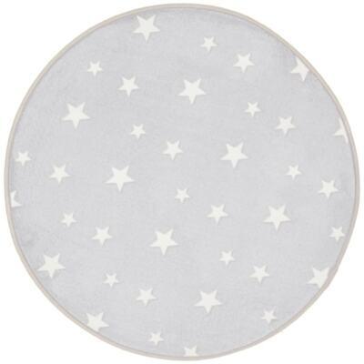 Glow in the Dark Rug Grey Stars Kids Bedroom Round Mat 70 x 70cm ()