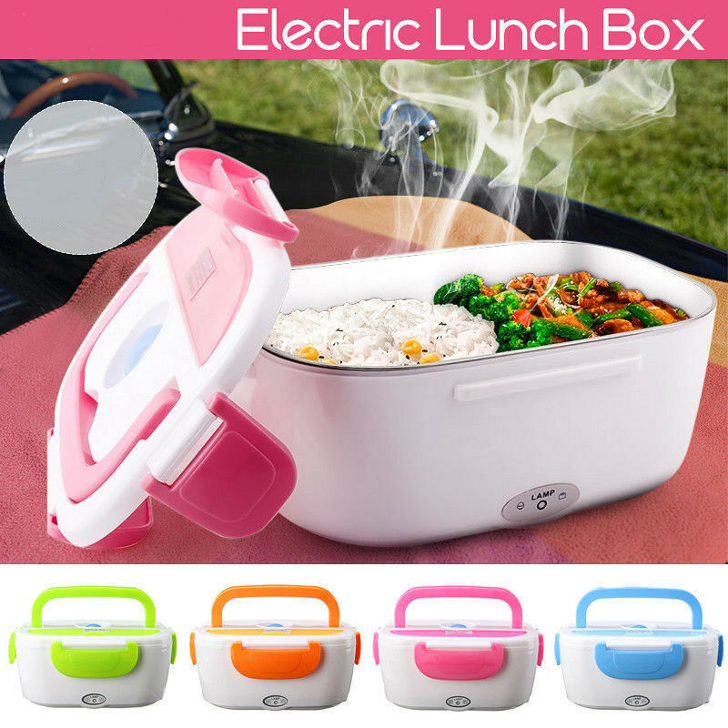 Portable Electric Heated US Plug Heating Lunch Box Bento Tra