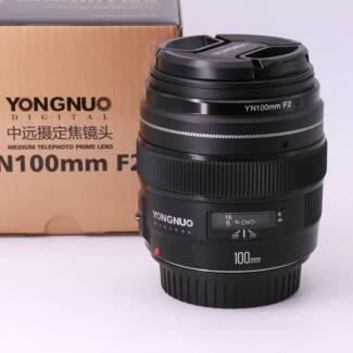 Yongnuo 100mm F2 Lens EF or EFS  Canon lens EOS + bonus hood