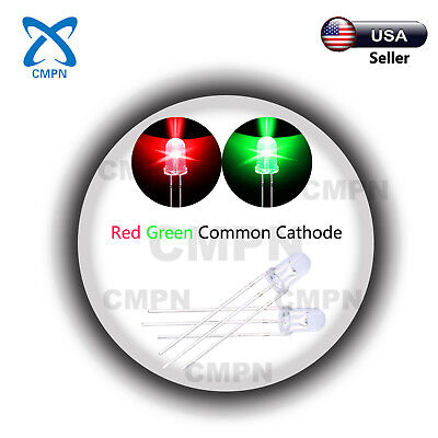 100pcs 5mm 3pin Dual Bi-color Redgreen Common Cathode Water Clear Led Diodes