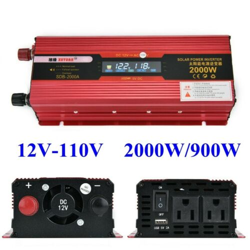 US 2000W Car Portable LCD Power Inverter DC 12V To AC 110V Converter