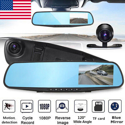 HD LCD Mirror Monitor Dash Cam Dual Lens Car DVR Reverse Rear View Camera Safe