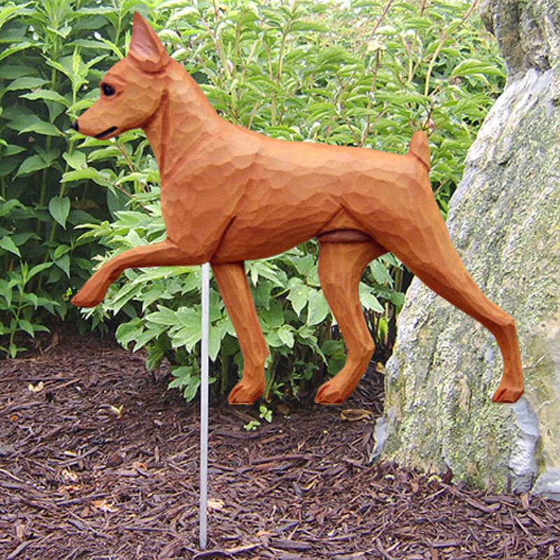 Mini Pinscher Outdoor Garden Dog Sign Hand Painted Figure Red