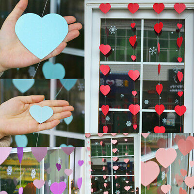 Heart Paper Garland Banner Bunting Wedding Party Birthday Decor DIY Hanging  - Diy Birthday Banner