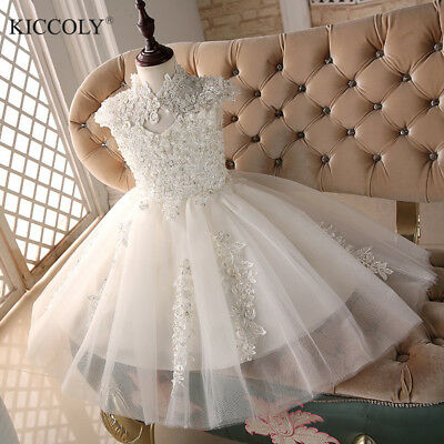 Glizt Bead White Tulle first communion dresses for girls Flower Girl Dresses