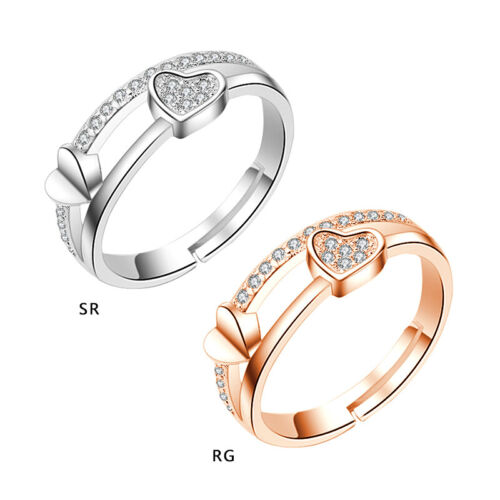 Women Bride Heart Rings Thumb Stack Jewelry Adjustable Love