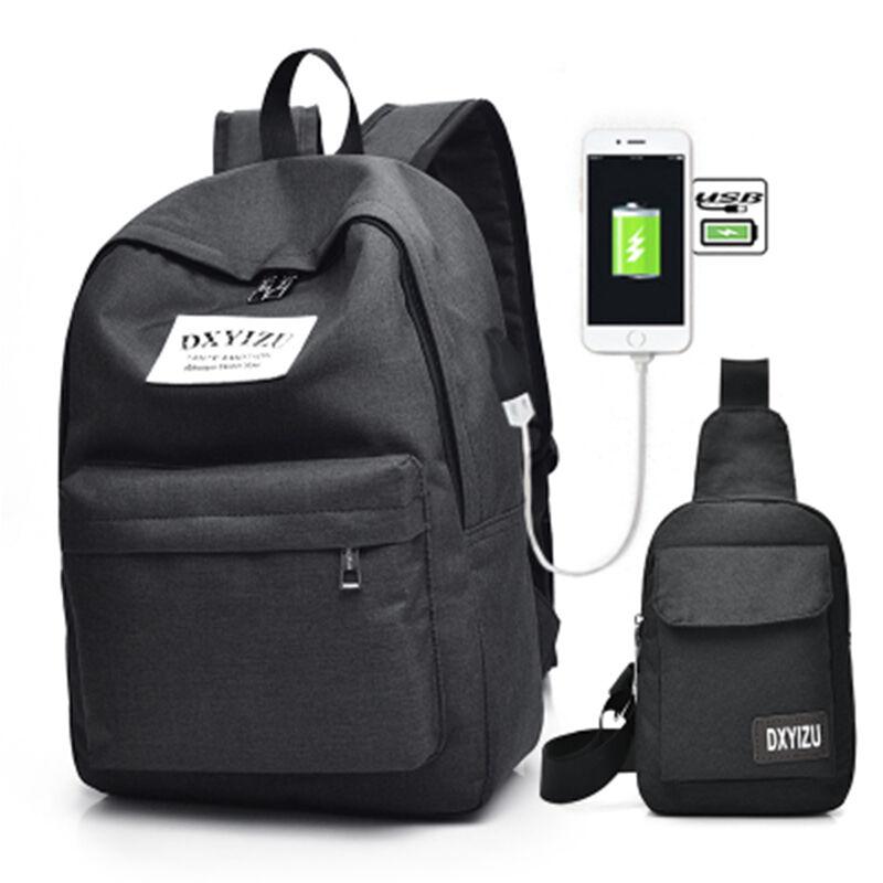 Fashion Travel Canvas Chest Bag Men 2Set USB Charging School