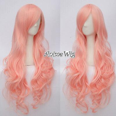 Layered Sakura Rosa Cosplay 80cm Lang Hitze Anime Mädchen Kostüm Wig Locken +Cap