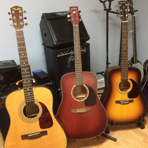 Three higher end acoustic guitars for sale