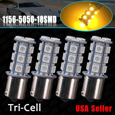 4x Amber/Yellow 1156 BA15S 18-SMD RV Interior LED Light Bulbs Turn Signal 7257