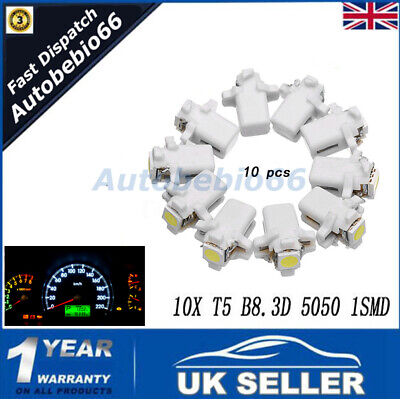 10X White T5 B8.3D 5050 1SMD Car LED Dashboard Dash Gauge Instrument Light Bulbs