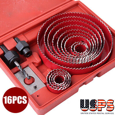 16pcs Holesaw Cutter Set Carbon Steel Drill Bits Plastic Wood Hole Saw (Carbon Steel Hole Saw Set)