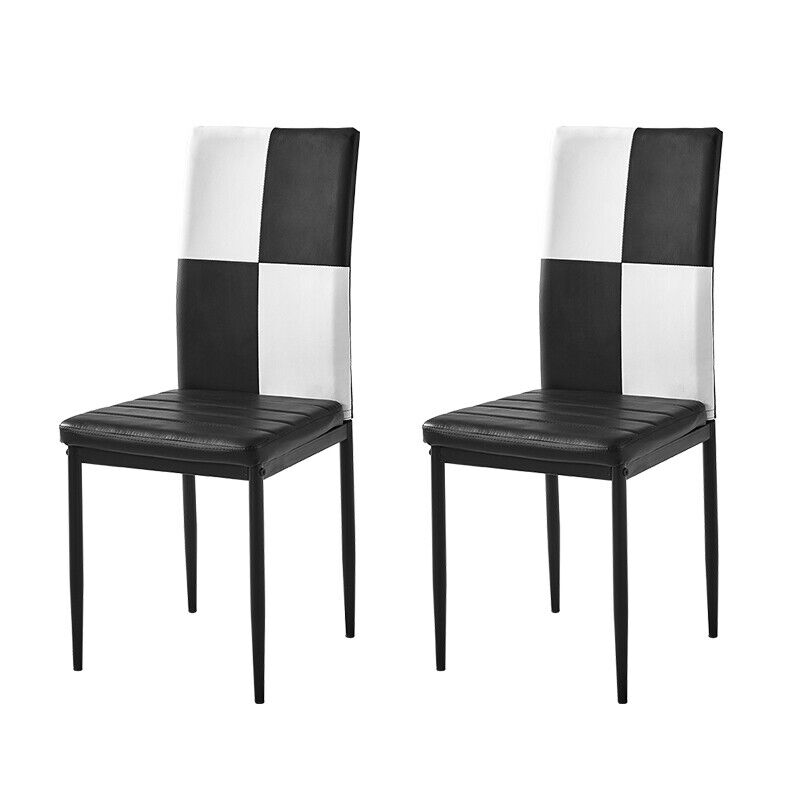 Dining Chairs High Back Padded Kitchen Chairs black and white squares 2/4Pcs NEW