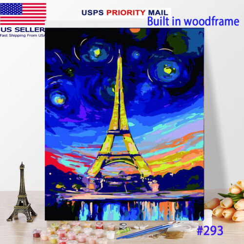 Wooden Framed  DIY Oil Painting Paint by Number Kit for Adults kid Eifflel tower
