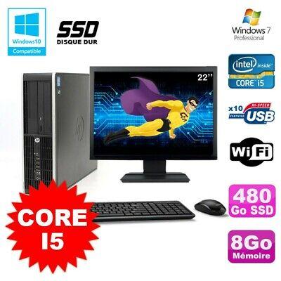 Lot PC HP Elite 8200 SFF Core I5 3.1GHz 8Go 480Go SSD DVD WIFI W7 + Ecran 22