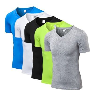 Men's Compression V-Neck Sport T-shirt Short Sleeve Fitness Workout Skin Shirt