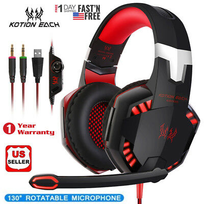 EACH 3.5mm Gaming Headset MIC LED Bass Headphones Stereo for Laptop PS4 Xbox one