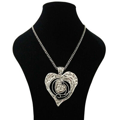 Abstract Heart Necklace - LARGE SILVER ABSTRACT METAL HEART PENDANT LONG CURB CHAIN LAGENLOOK NECKLACE