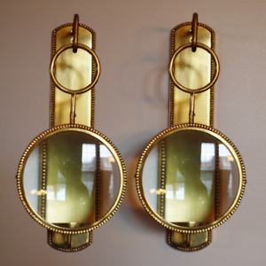 Magnifying Brass Wall Hanging, Candle Holders, Wall Sconces.